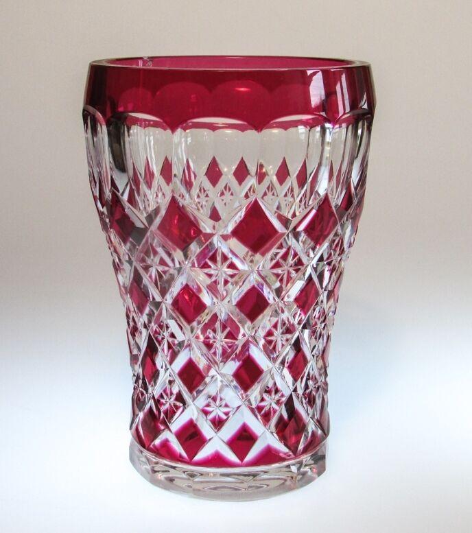 A Vintage Val St. Lambert Crystal Cranberry Flashed Cut ...