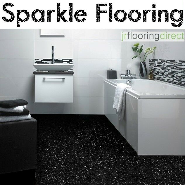 Black sparkly bathroom flooring glitter effect vinyl for Black vinyl floor tiles
