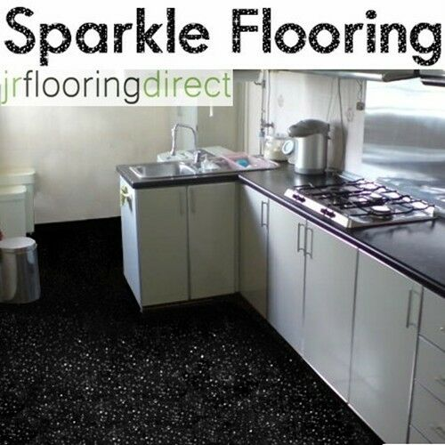 Black sparkly kitchen flooring glitter effect vinyl for Black floor tiles for kitchen