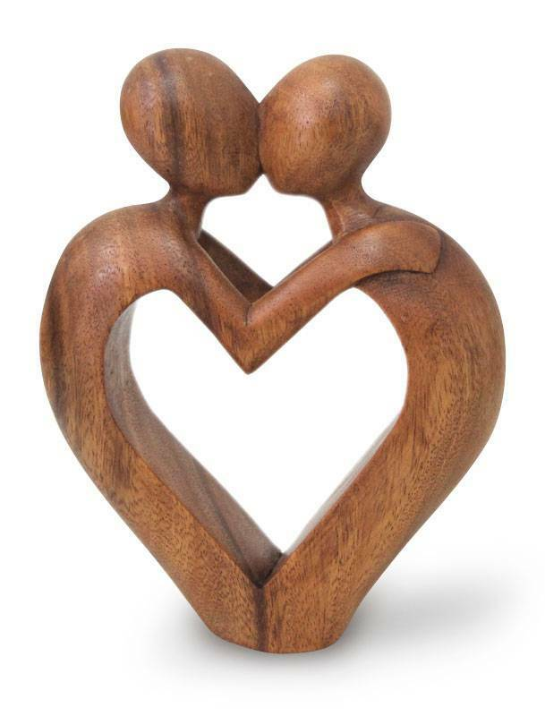 Original wood sculpture artisan hand carved heart sweet