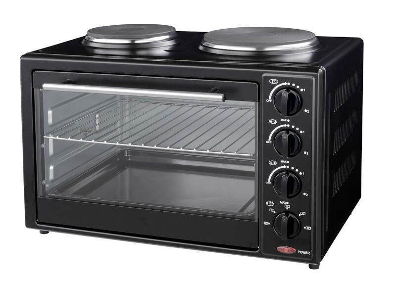 mini backofen 35l mit doppelkochplatte 3200w minik che. Black Bedroom Furniture Sets. Home Design Ideas