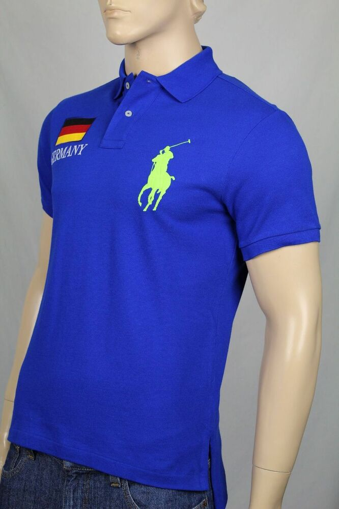 ralph lauren blue custom fit big pony polo germany shirt. Black Bedroom Furniture Sets. Home Design Ideas