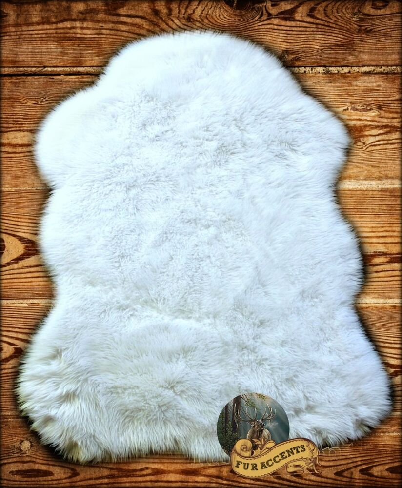 sheepskin bear skin rug shaggy faux fur 10 colors and sizes ebay. Black Bedroom Furniture Sets. Home Design Ideas