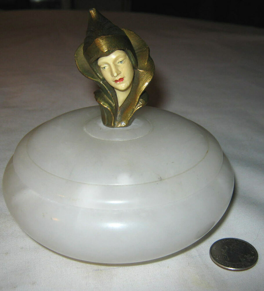 Antique art deco gerdago pixie lady statue marble jewelry for Sawyer marble jewelry stand