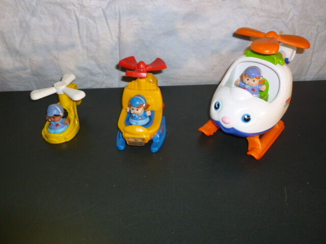 Fisher Price Little People Airport spin fly yellow helicopters pilot girls lot | eBay