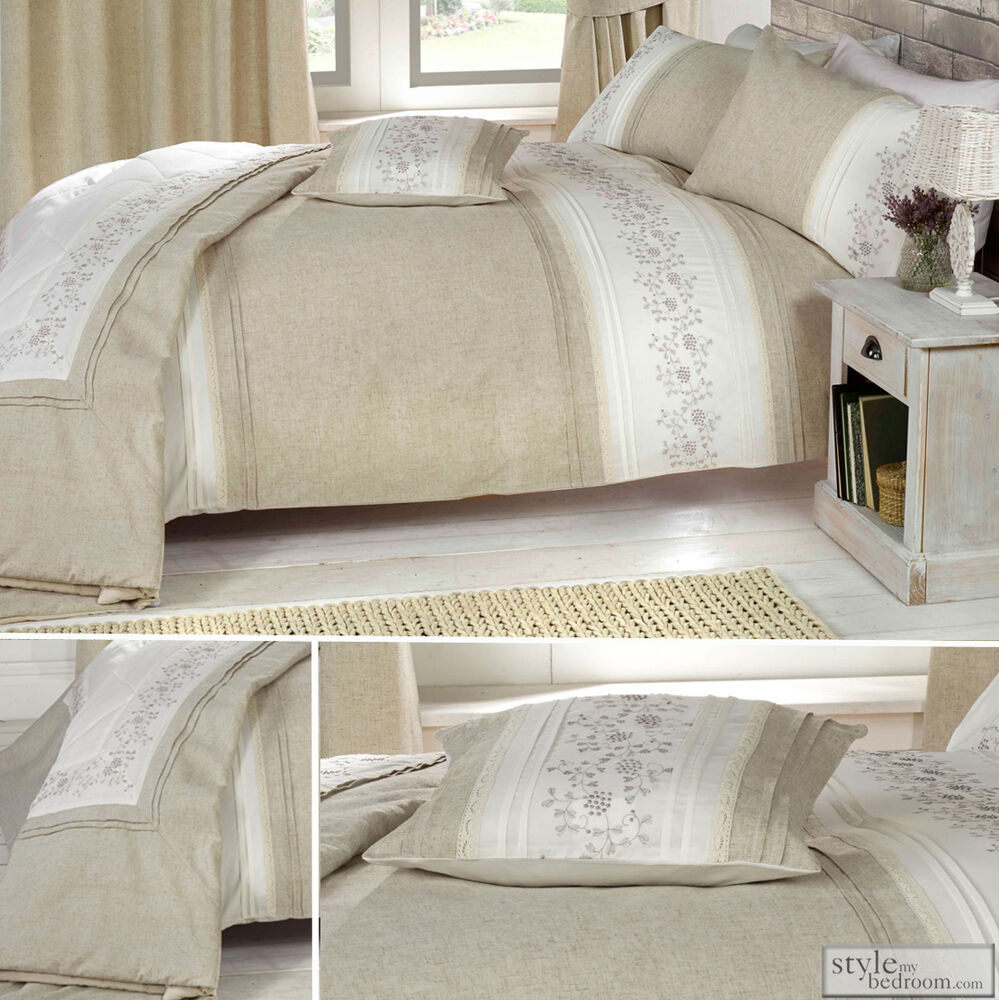 Embroidered Natural Linen Duvet Quilt Cover Bedding Or