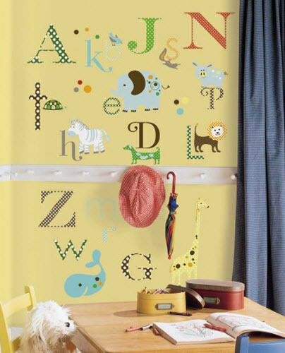 Dotted alphabet letters wall stickers 107 decals school for Alphabet mural nursery
