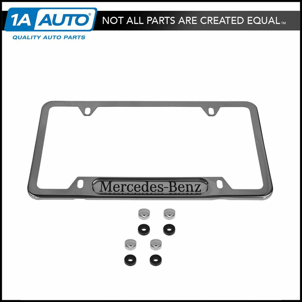 Oem polished stainless steel license name plate frame for for Mercedes benz license plate logo