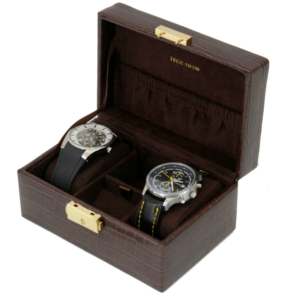 Ts0629brn travel case for watches cufflinks jewelry ebay for Men s jewelry box for watches and cufflinks