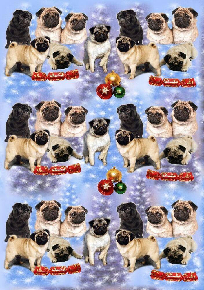 Pug Dog Christmas Wrapping Paper By Starprint Ebay