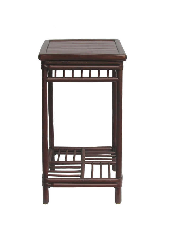 Chinese Vintage Bamboo Square Side Table Plant Stand Cs733
