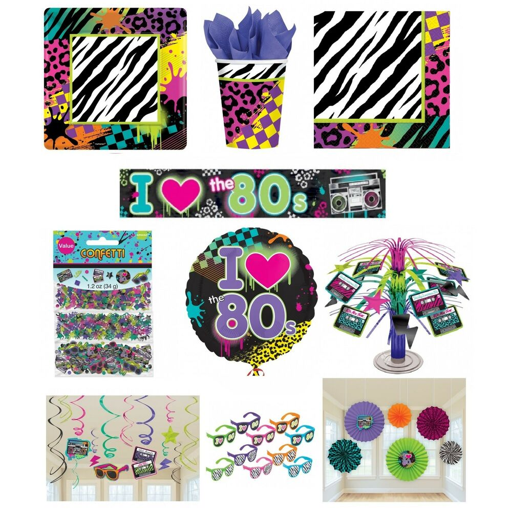 I love the 80s disco party range 1980 tableware balloons for 80s party decoration