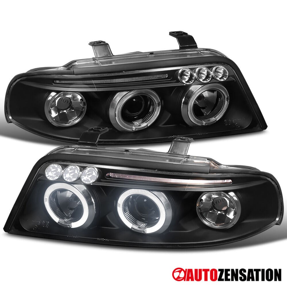 99 01 audi a4 s4 b5 black led drl halo projector headlights ebay. Black Bedroom Furniture Sets. Home Design Ideas