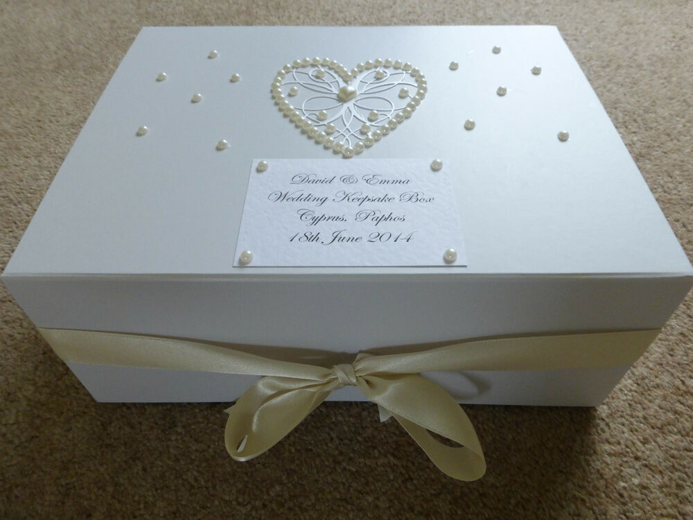Personalised Wedding Gift Boxes Uk : Large Ivory Wedding Keepsake Box Personalised Memory Box Ivory Pearl ...
