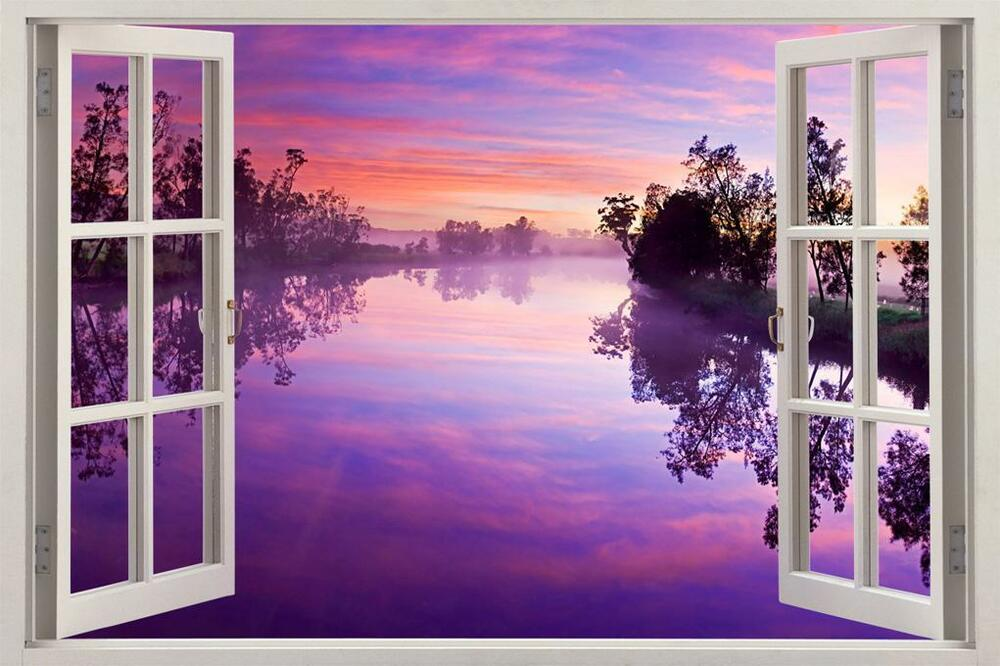 Purple Sunset Over River 3d Window View Decal Wall Sticker