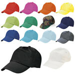 ADULT SIZE BASEBALL CAP 100% COTTON  HAT - ADJUSTABLE - 14 COLOURS - BRAND NEW