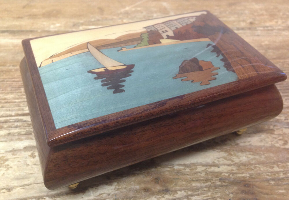 Made In Italy Sorrento Inlaid Inlaid Rose Burl Musical Jewelry Box Cannon In D Sankyo 18 Notes