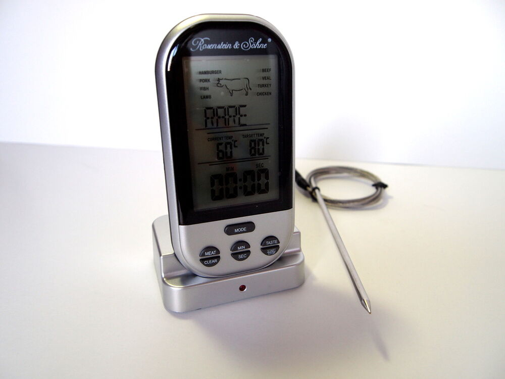 funk bratenthermometer grillthermometer bratthermometer fleischthermometer ebay. Black Bedroom Furniture Sets. Home Design Ideas
