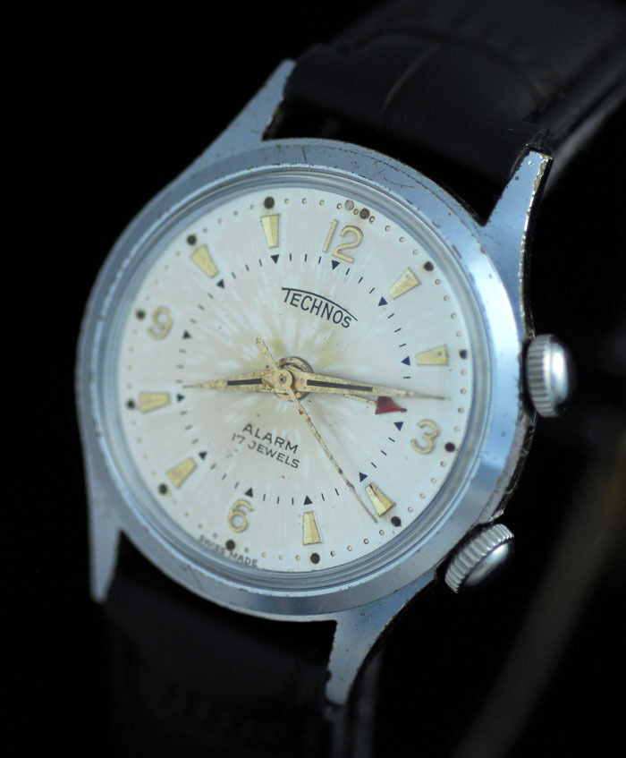 Vintage technos mens manual alarm wrist watch rare as 1475 ebay for Technos watches
