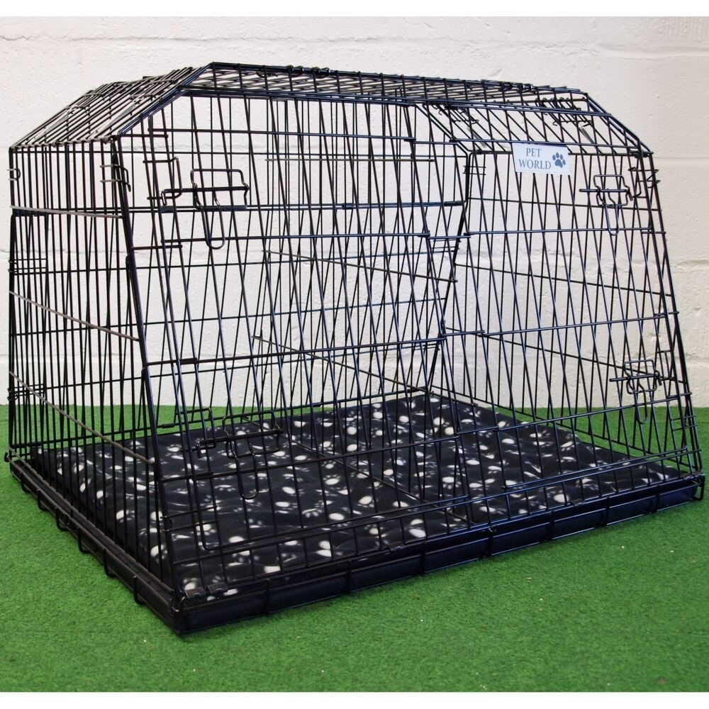 sloping car dog cage estate  cages boot travel crate puppy guard estl ebay
