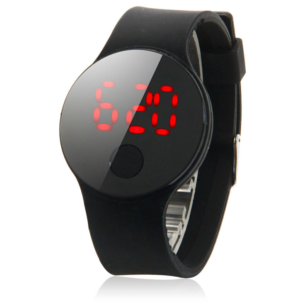 led round dail mens women sport silicone band red light. Black Bedroom Furniture Sets. Home Design Ideas