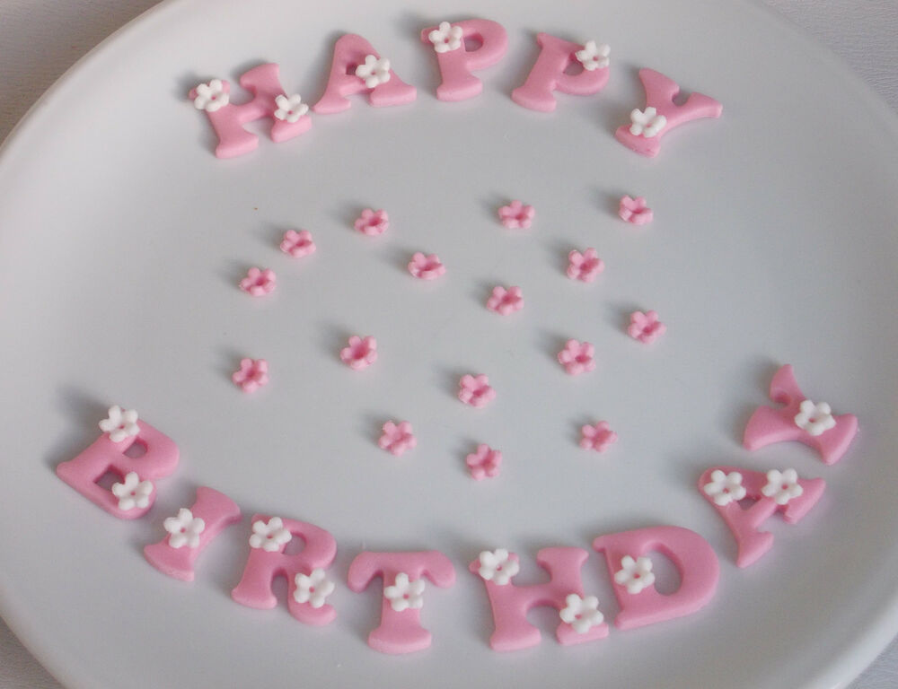 Cake Decorations Letters Uk : Edible Icing HAPPY BIRTHDAY Letters Star Polka Dots Flower ...
