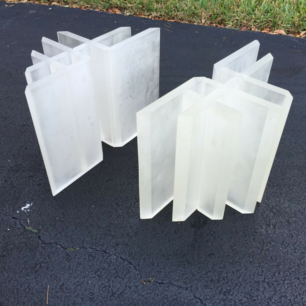 FAB ARCHITECTURAL POST MODERN FROSTED LUCITE TABLE BASES