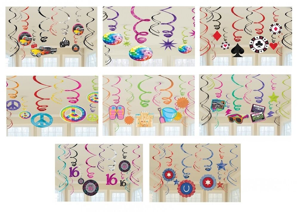 12 Themed Foil Hanging Swirl Decorations Amscan Party