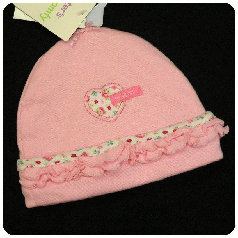 New Nwt Carters Cap Hat Baby Girls Pink Heart Flower