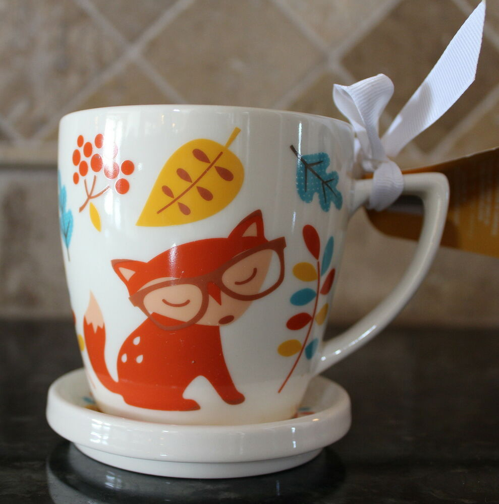 Ceramic Fox Coffee Cup With Lid Mug 2 Piece Gift Set 8oz