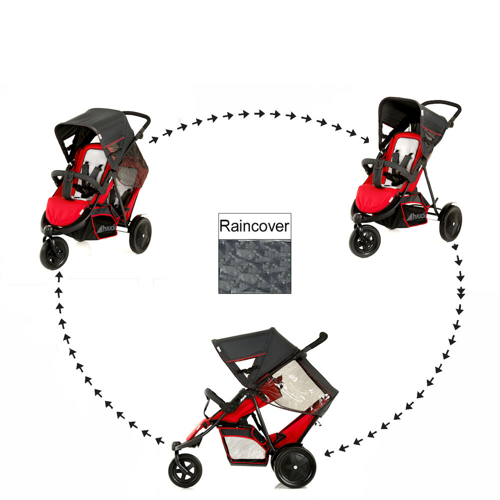 NEW HAUCK RED FREERIDER DOUBLE TWIN TANDEM STROLLER ...