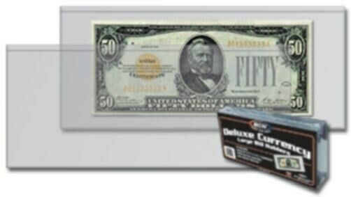 100 Bcw Deluxe Semi Rigid Vinyl Older Large Dollar Bill Us