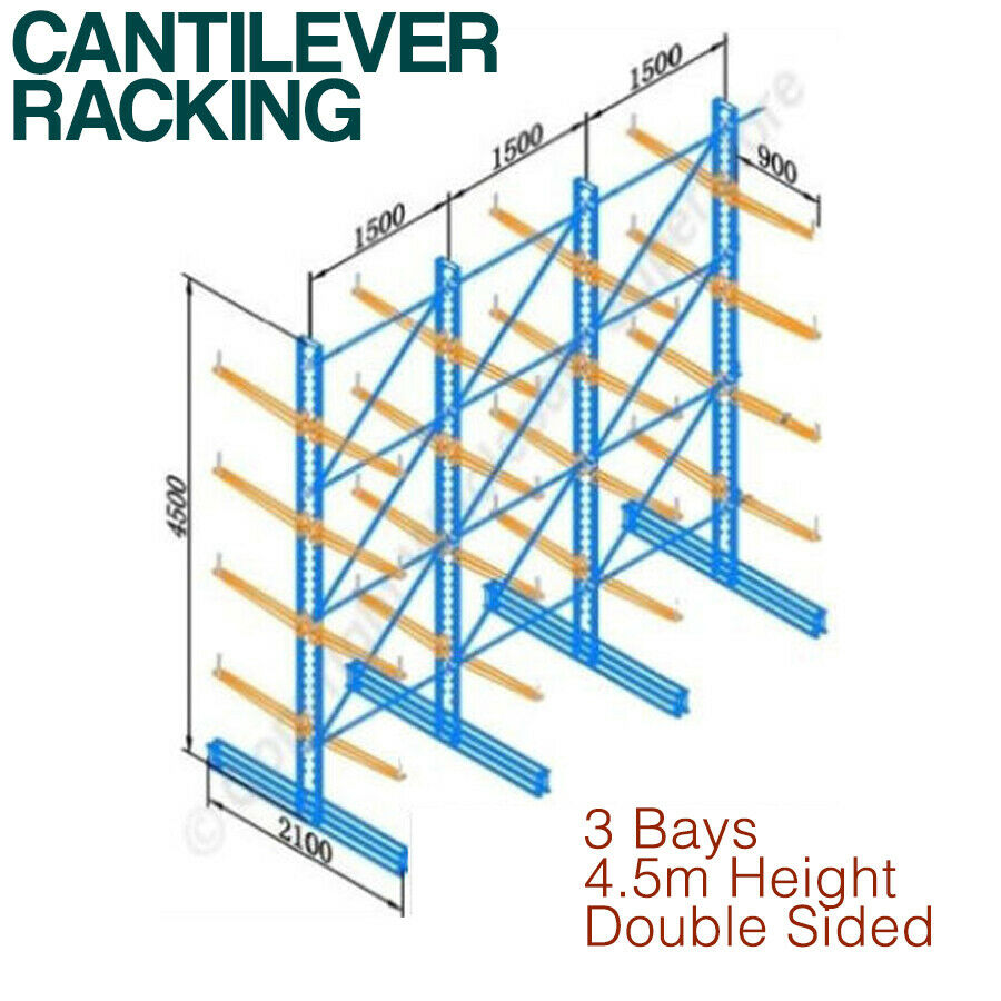 Cantilever racking 3 bays double sided high 10 for 3 bays