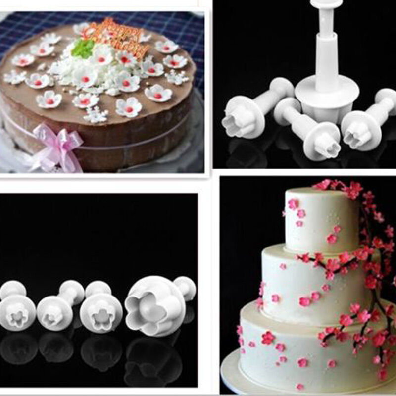 Sugarcraft Cake Decorating And Baking Show : 4pcs Plum Flower Plunger Fondant Mold Cutter Sugarcraft ...