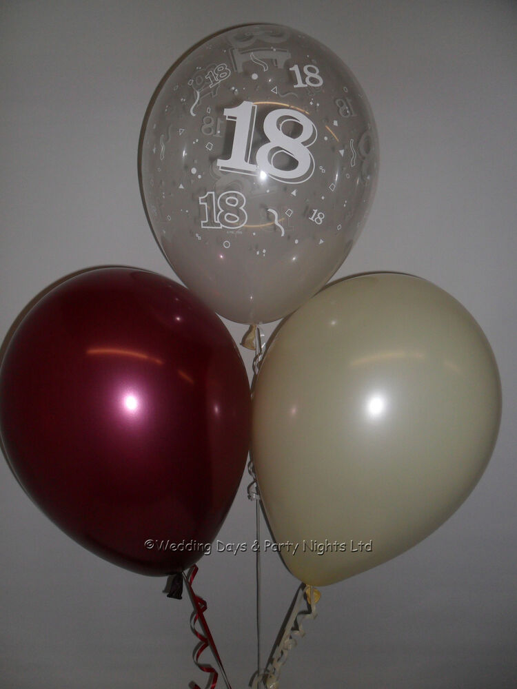 30 18th birthday party helium air balloons clear burgundy for Balloon decoration ideas for 18th birthday