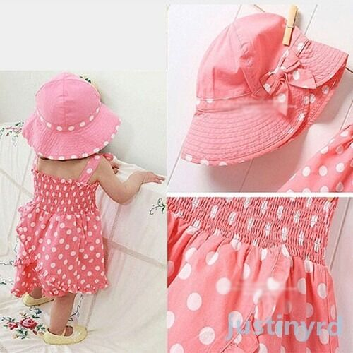 New kids baby girls party pink dot 3pcs dress pants hat set outfit