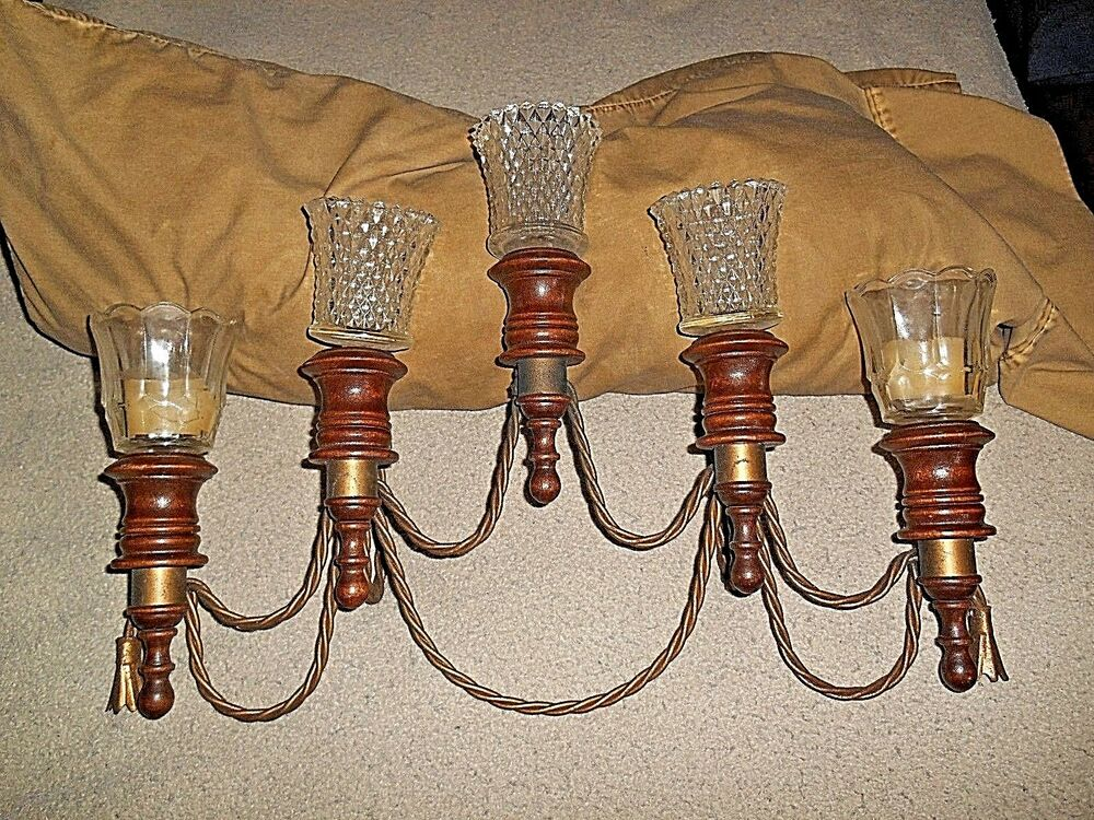 Tin Wall Sconce Candle Holder : RETRO WOOD WITH PAINTED METAL TRIM 5 TIER WALL HANGING SCONCE CANDLE HOLDER eBay