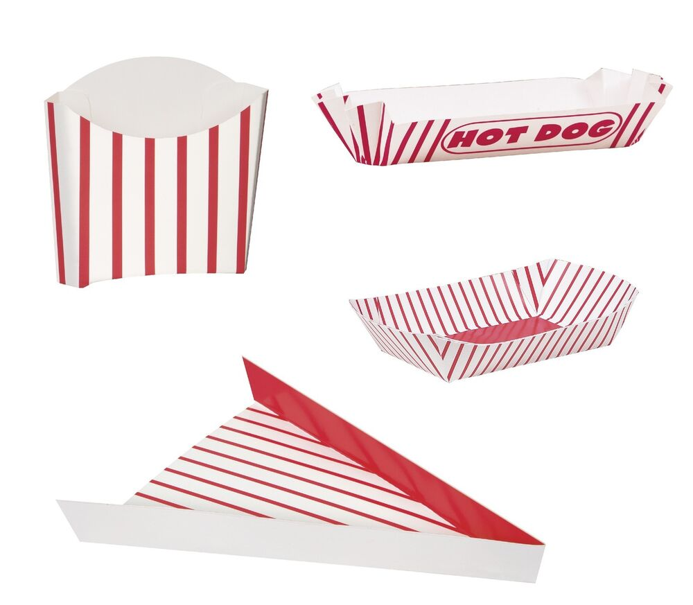retro food containers trays pizza hot dog fries red stripes party treat box ebay. Black Bedroom Furniture Sets. Home Design Ideas