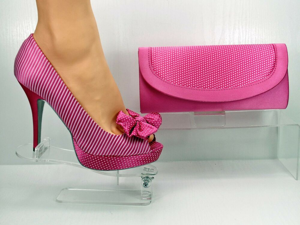 shoes and matching bag pink satin shoe polka dot striped
