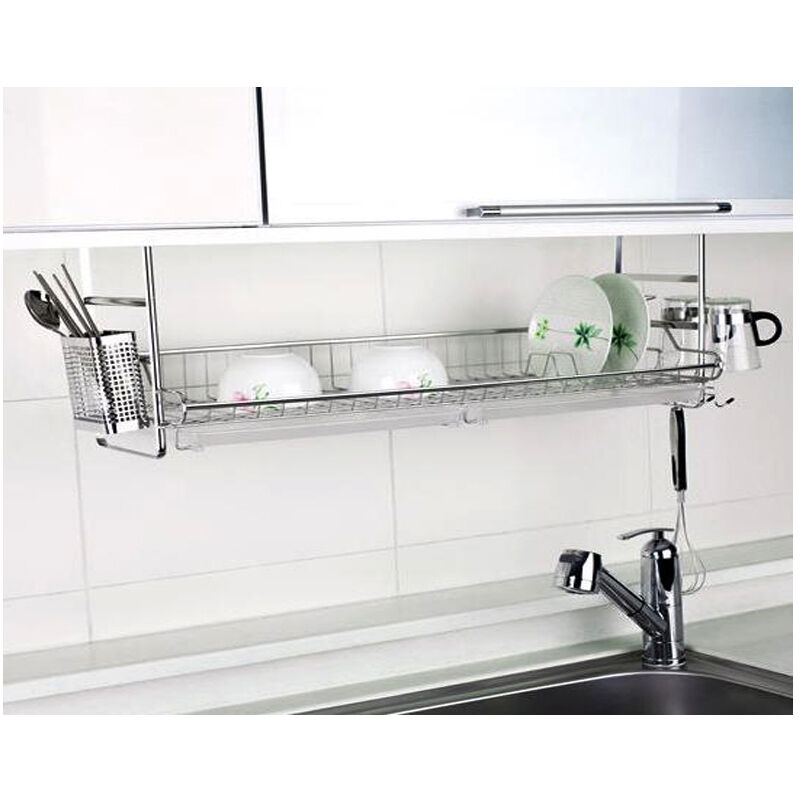 New stainless fixing dish drying rack single shelf sink kitchen organizer ebay - Kitchen sink drying rack ...