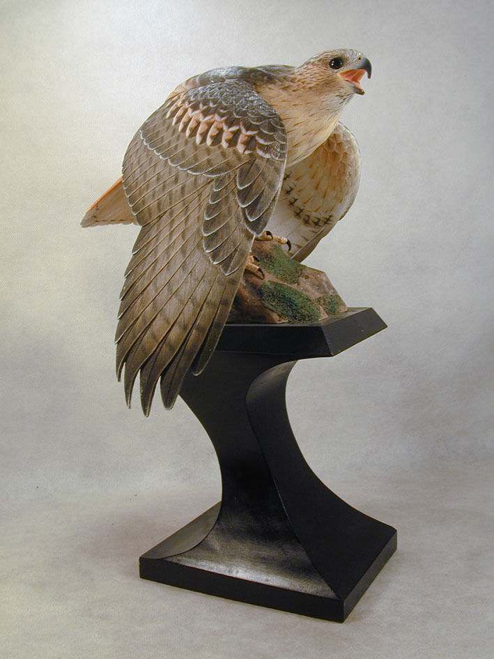 Red tailed hawk original wood carving ebay