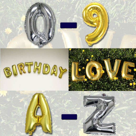 "Alphabet Foil Silvers: 16"" Gold Silver Foil Alphabet A-Z Number 0-9 Balloon Decor"