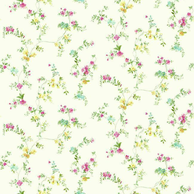 Wallpaper Traditional Small Print Watercolor Floral Vine