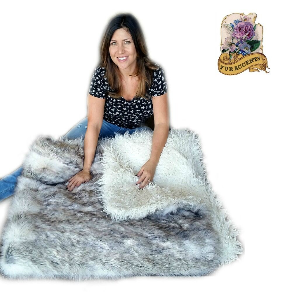 Thick Plush Russian Wolf Throw Blanket Faux Fur White  : s l1000 from www.ebay.com size 1000 x 1000 jpeg 122kB