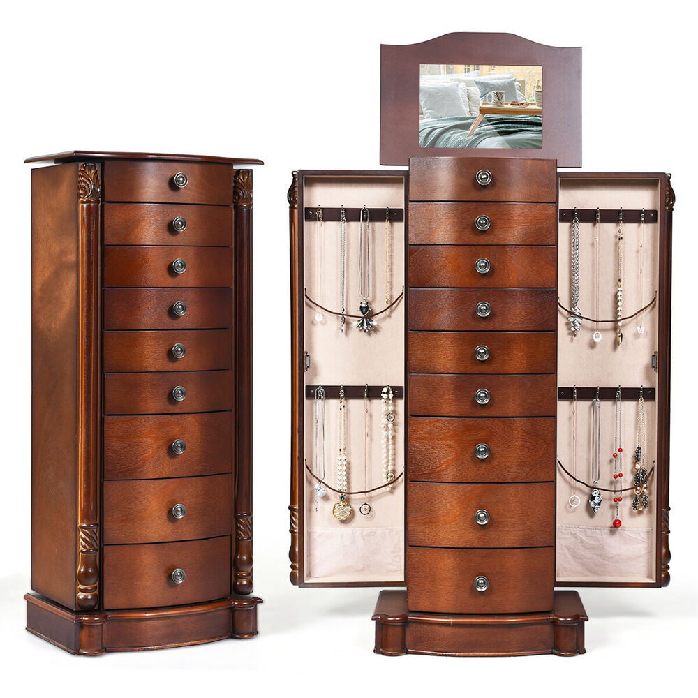 Wood jewelry cabinet armoire box storage chest stand