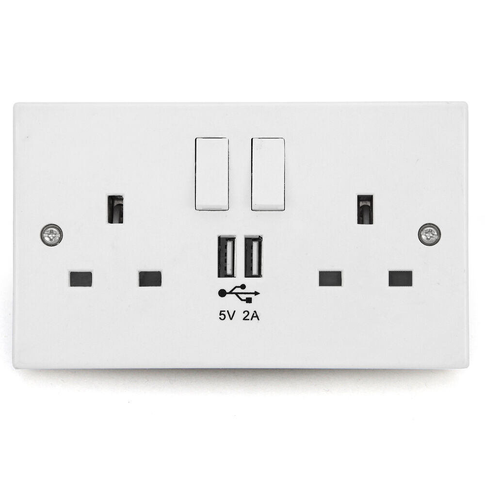 Wall Socket Usb Plug Double Power Outlet Uk 13 Amp Charger
