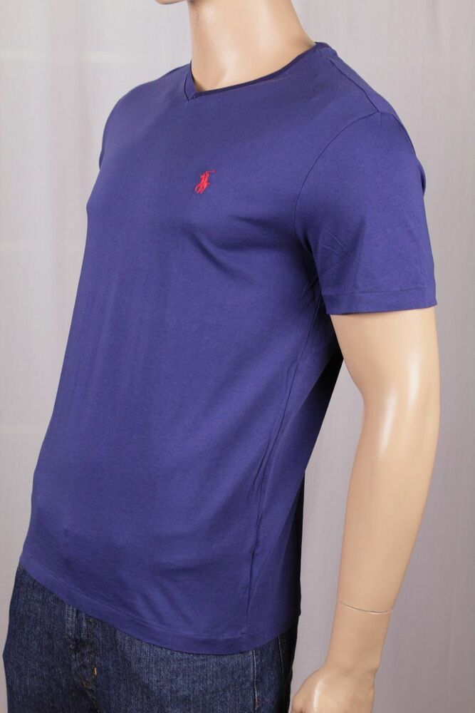 Polo Ralph Lauren Blue V Neck Tee T Shirt Red Pony Nwt Ebay