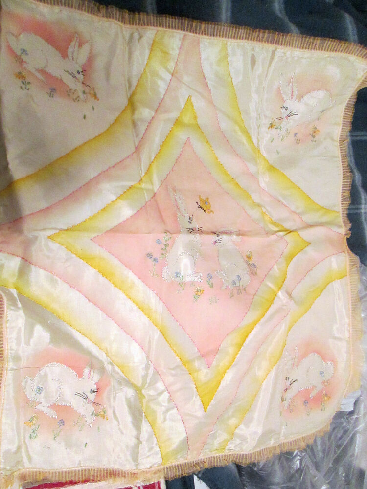 Cute vintage hand embroidery baby doll childs crib quilt