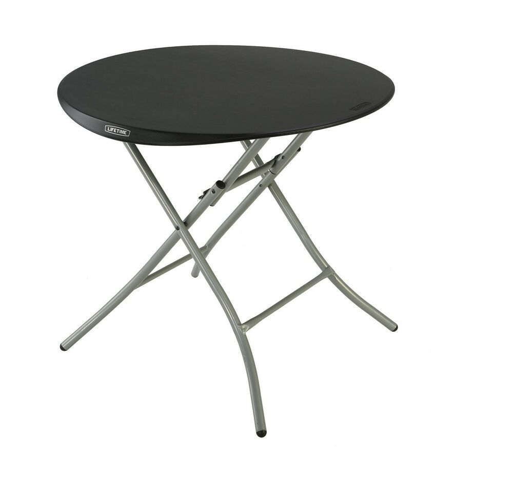 Lifetime 33 Round Folding Table Black Hdpe Plastic