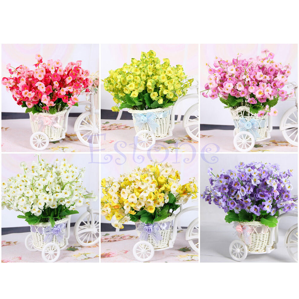 New campanula fake flower silk leaf artificial home for Artificial flowers decoration home